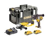 DeWalt 18V 2.0Ah DCG412 Grinder & Brushless DCD995 Combi Drill 2 x 2.0Ah Battery Kit